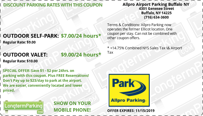 Allpro Airport Parking Buffalo NY  Buffalo Niagara Airport BUF Airport Parking Coupon from LongtermParking.com