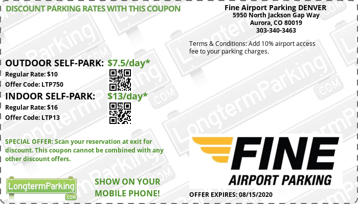 Fine Airport Parking DENVER Denver Airport DEN Airport Parking Coupon from LongtermParking.com