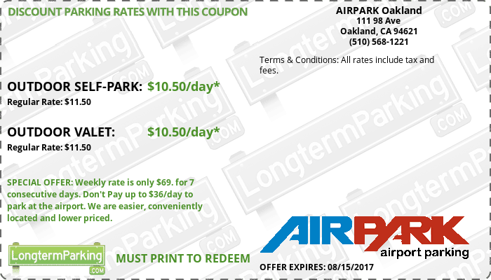 AIRPARK Oakland Oakland Airport OAK Airport Parking Coupon from LongtermParking.com