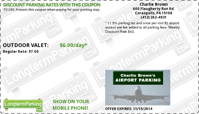 Charlie Brown's Airport Parking Pittsburgh International Airport (PIT) Airport Parking Coupon from LongtermParking.com