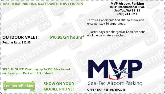 MVP Airport Parking Sea-Tac Airport SEA Airport Parking Coupon from LongtermParking.com