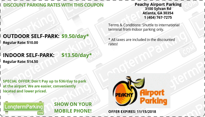 We provide a great range of off-airport parking close to Atlanta Airport and you can benefit from our off-site Atlanta Airport parking coupons. These coupons can give you up to $5 off, which is great if you're after cheap parking and a brilliant service to go with it.