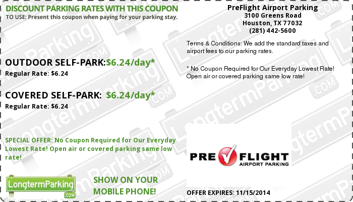 PreFlight Airport Parking George Bush Intercontinental Airport (IAH) Airport Parking Coupon from LongtermParking.com