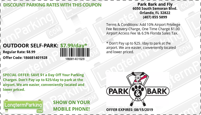 Park Bark and Fly Orlando Airport MCO Airport Parking Coupon from LongtermParking.com