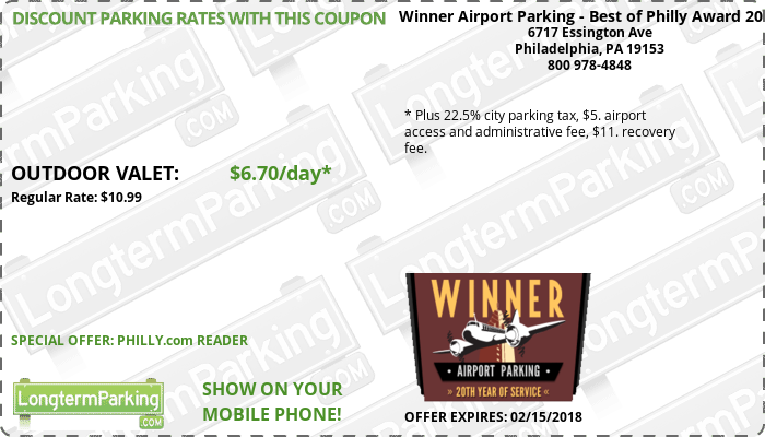 Winner Airport Parking - Best of Philly Award 2013 Philadelphia Airport PHL Airport Parking Coupon from LongtermParking.com