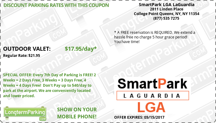 SmartPark LGA LaGuardia New York LaGuardia LGA Airport Parking Coupon from LongtermParking.com
