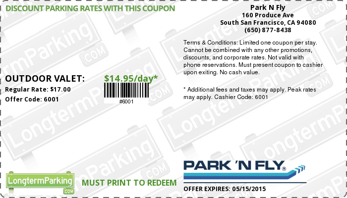 Park and fly discount coupons