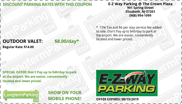 E-Z Way Parking @ The Crown Plaza Newark Liberty Airport EWR Airport Parking Coupon from LongtermParking.com