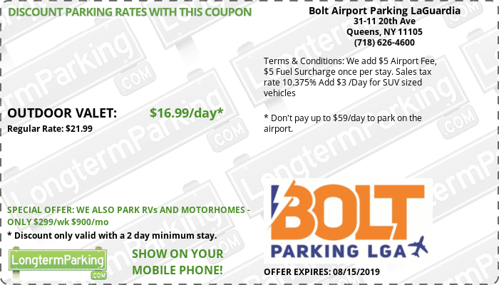 Bolt Airport Parking LaGuardia New York LaGuardia LGA Airport Parking Coupon from LongtermParking.com