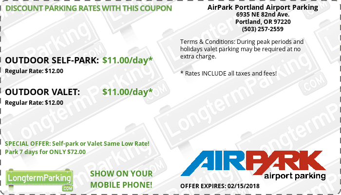 AirPark Portland Airport Parking Portland Airport PDX Airport Parking Coupon from LongtermParking.com