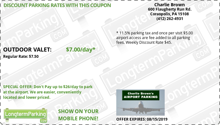 Charlie Brown's Airport Parking Pittsburgh Airport PIT Airport Parking Coupon from LongtermParking.com