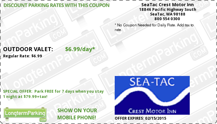 seatac crest motor inn airport parking coupon and free