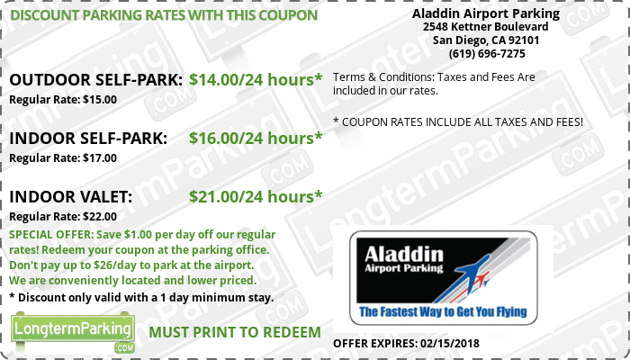 Aladdin Airport Parking San Diego Airport SAN Airport Parking Coupon from LongtermParking.com