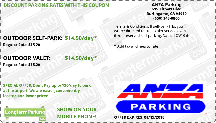 ANZA Parking San Francisco Airport SFO Airport Parking Coupon from LongtermParking.com