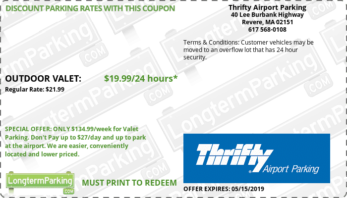 Thrifty Airport Parking Boston Logan Airport BOS Airport Parking Coupon from LongtermParking.com