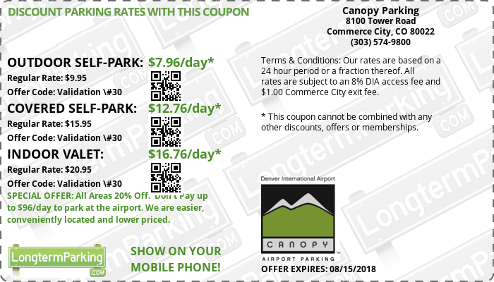 Canopy Parking Denver Airport DEN Airport Parking Coupon from LongtermParking.com  sc 1 st  LongtermParking.com & Free Coupons u0026 Free Reservations - Canopy Parking ...