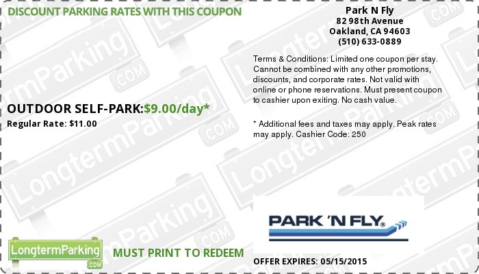park n fly oakland airport oak airport parking coupon from