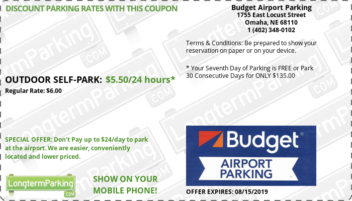 Budget Airport Parking Omaha Eppley Airfield OMA Airport Parking Coupon from LongtermParking.com