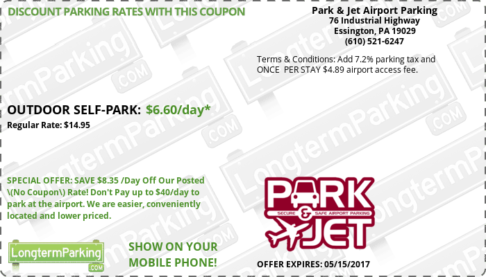 Park & Jet Airport Parking Philadelphia Airport PHL Airport Parking Coupon from LongtermParking.com