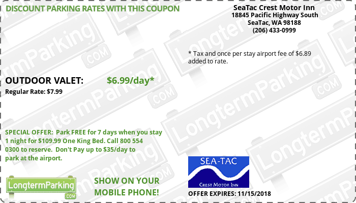 SeaTac Crest Motor Inn Sea-Tac Airport SEA Airport Parking Coupon from LongtermParking.com