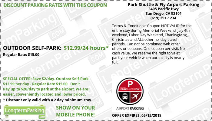 Park Shuttle & Fly Airport Parking San Diego Airport SAN Airport Parking Coupon from LongtermParking.com