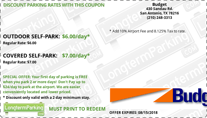 budget san antonio airport sat airport parking coupon from longtermparking com